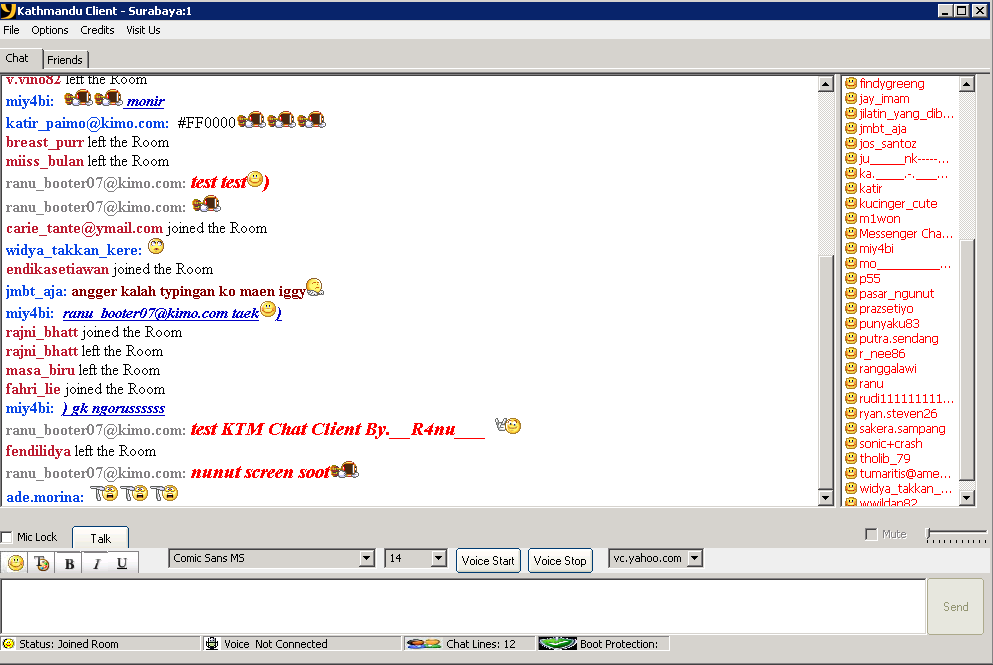 Casual chat rooms